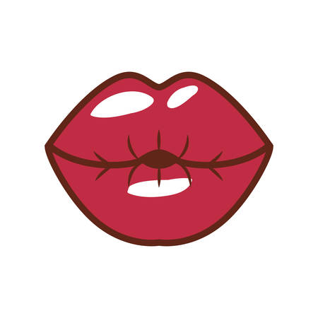 closed mouth: red lips giving kiss with shiny vector illustration