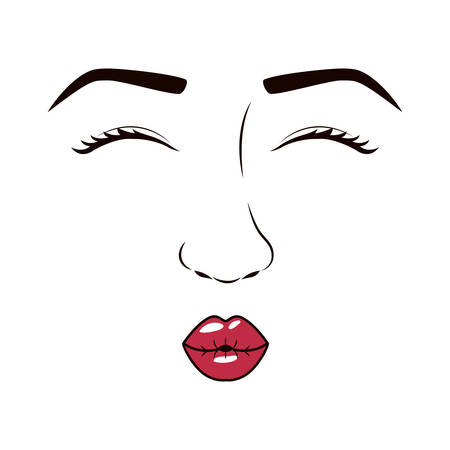 eyesclosed: woman face with eyesclosed and giving a kiss vector illustration