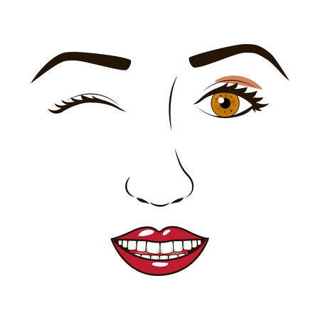 eyesclosed: womans face winking and smiling vector illustration