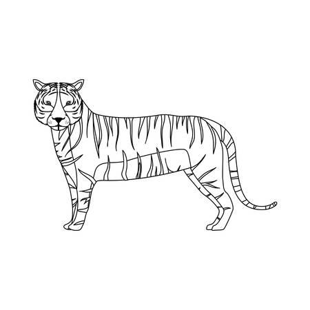 silueta tigre: la fauna del tigre silueta y animal de la selva sobre fondo blanco. ilustración vectorial