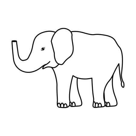 silhouette elephant jungle and wildlife animal icon over white background. vector illustration Ilustração