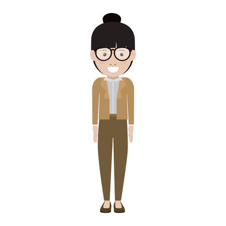 woman smiling: avatar female woman smiling with glasses and wearing executive clothes over white background. vector illustration