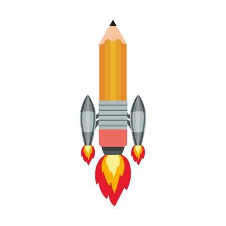 space rocket with pencil shape over white background. start up design. vector illustration