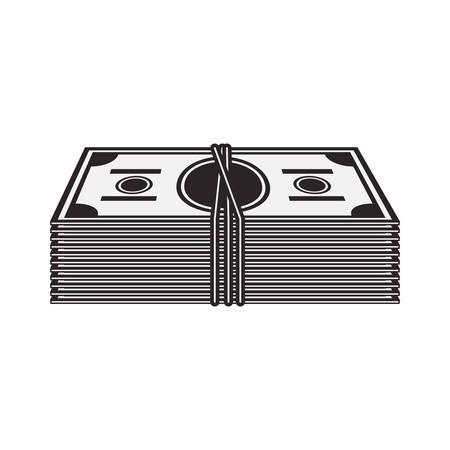wad of cash. money bills icon over white background. vector illustration Illustration