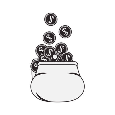 money sack: money sack with coins icon silhouette  over white background. vector illustration Illustration