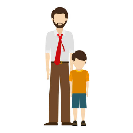 dad son: avatar man dad wearing red tie with his son over white background. vector illustration