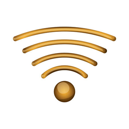 Wifi or wireless icon in gold color over white background. vector illustration