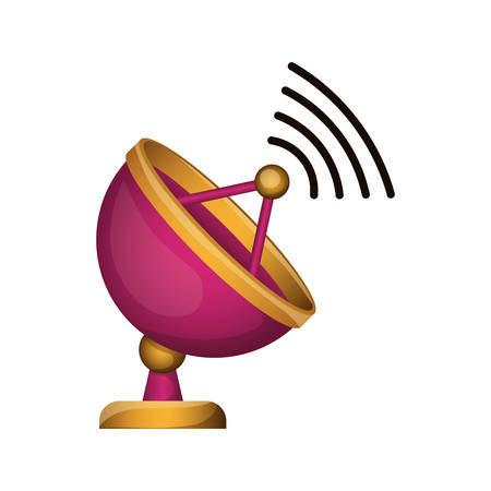 antenna satellite with wireless waves over white background. vector illustration