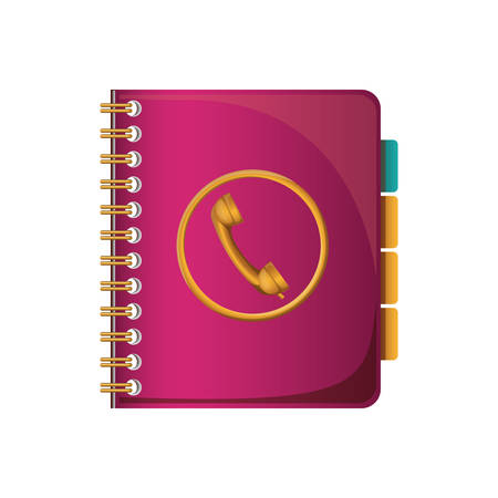 directory: pink directory  notebook with phone icon  over white background. vector illustration