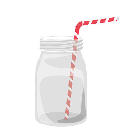 mason: mason jar container with red and white striped straw over white background. vector illustration