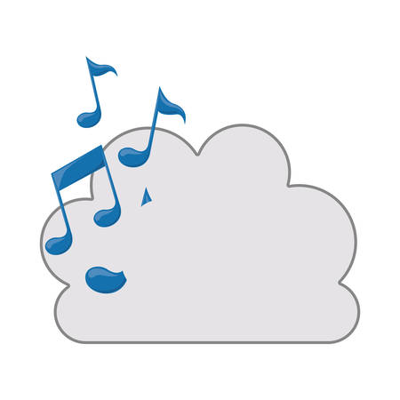 tridimensional: white cloud shape with musical notes icon. isolated design. vector illustration