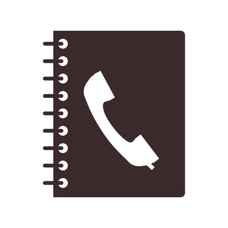 directorio telefonico: cuaderno directorio con el icono de teléfono en la cubierta. diseño aislado. ilustración vectorial