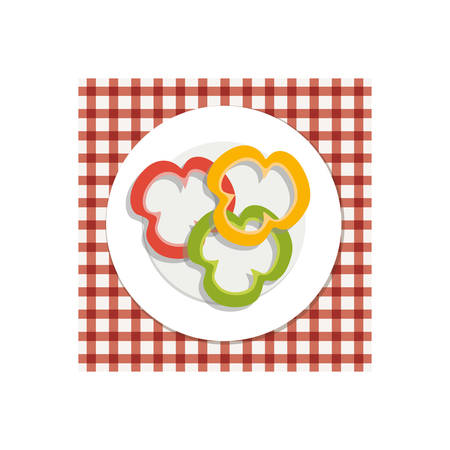 veg: dish with peppers vegetable food over picnic tablecloth. healthy food design. vector illustration
