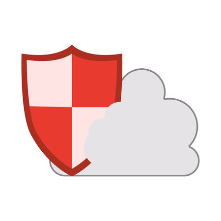 tridimensional: white cloud shape with security shield icon. isolated design. vector illustration