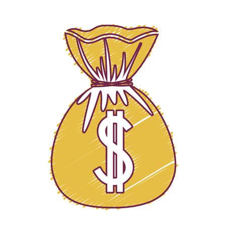 money sack: money sack closed over white background. vector illustration