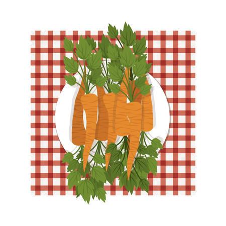dish with orange carrots over picnic tablecloth. vegetables healthy food design. vector illustration Illustration