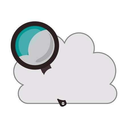 condensation on glass: white cloud shape with magnifying glass icon. isolated design. vector illustration Illustration