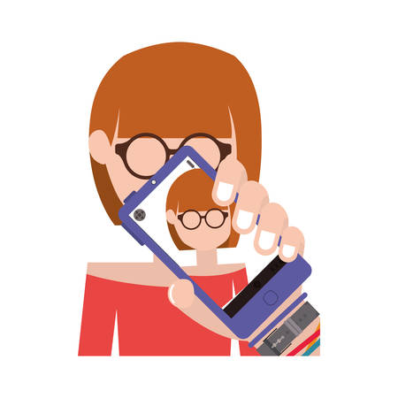 avatar female woman taking a photo selfie with smartphone device over white background. vector illustration Illustration