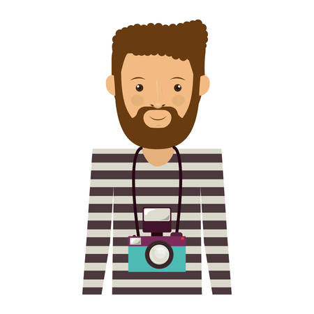bearded man: avatar hipster bearded man smiling with photographic professional camera around his neck over white background. vector illustration