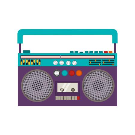 Klassische 80s Boombox Portable Kassettenband Spieler über weißem Hintergrund. Vektor-Illustration