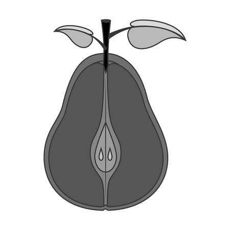 market gardening: pear fruit icon over white background. healthy and natural food design. vector illustration Illustration