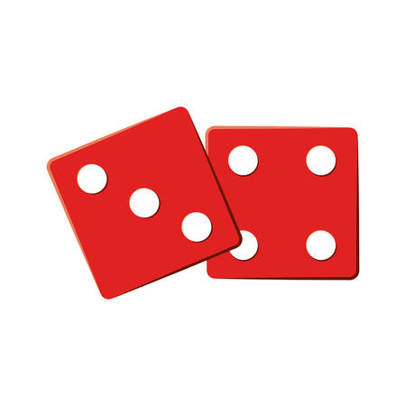 red two dices cube icon over white background. gambling games design. vector illustration Illustration