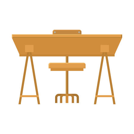 wooden desk with chair icon over white background. workplace design. vector illustration Illustration