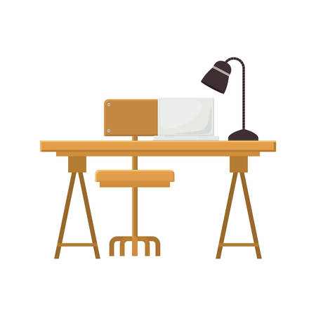 wooden desk with chair with lamp and laptop icon over white background. workplace design. vector illustration Illustration