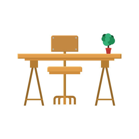 side table: wooden desk with chair and plant in a pot  over white background. workplace design. vector illustration Illustration