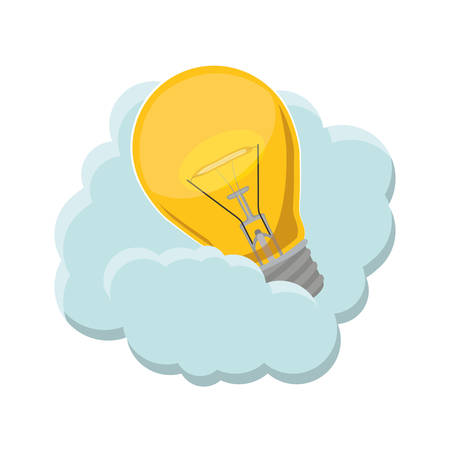 bombillo ahorrador: bulb light icon over cloud shape icon and white background. vector illustration Vectores