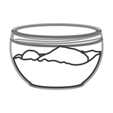 colander: silhouette of glass container with flour over white background. vector illustration