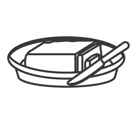 butter knife: food plate with butter and knife icon. breakfast foodb Illustration