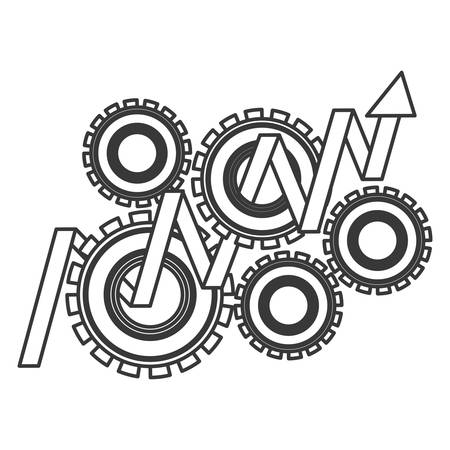 gears wheel with arrow with up direction over white background. vector illustration