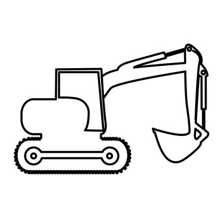 maquinaria pesada: retroexcavadora maquinaria pesada ilustración imagen vectorial icono de pictograma Vectores
