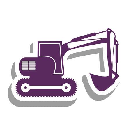 maquinaria pesada: retroexcavadora púrpura maquinaria pesada ilustración imagen vectorial icono de pictograma Vectores