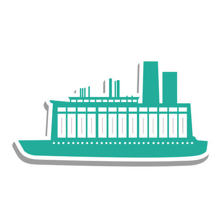 brigantine: blue boat or ship pictogram icon image vector illustration