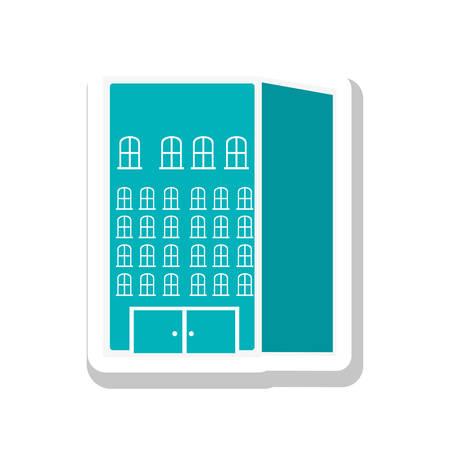 headquarters: city building pictogram icon image vector illustration design