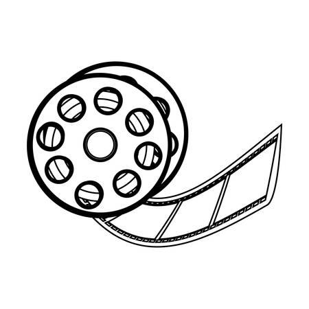 35mm film motion picture camera: film tape reel icon image vector illustration design