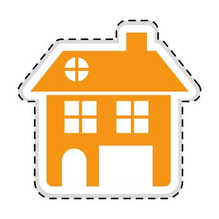 orange house pictogram icon image vector illustration design