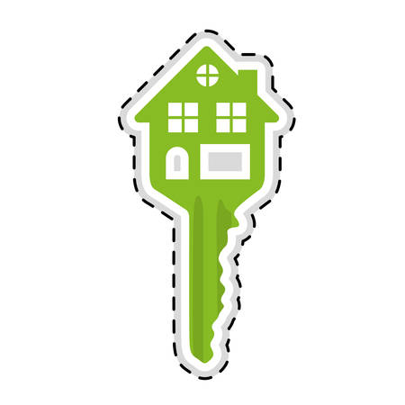 house shaped key icon image vector illustration design