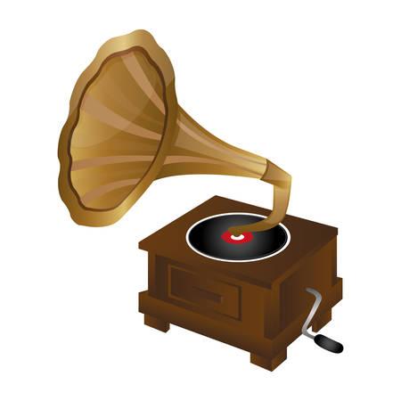 loudhailer: gramophone vintage icon image vector illustration design
