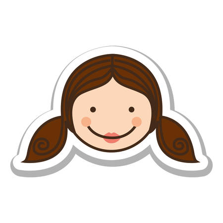 girl happy child face icon image vector illustration design