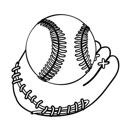 mitt: baseball mitt and ball icon image vector illustration design Illustration