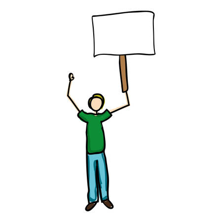 man holding a blank sign: man holding blank sign cartoon icon image vector illustration design