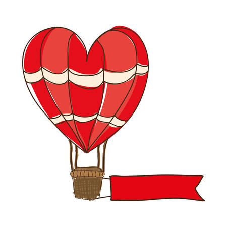heart shape hot air balloon cartoon icon image vector illustration design Illustration