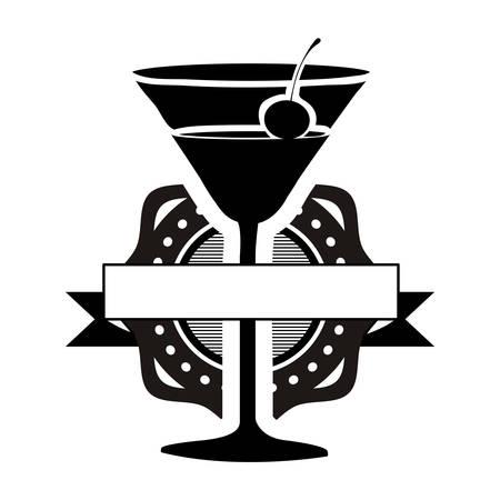 cocktail glass emblem with banner icon image vector illustration design