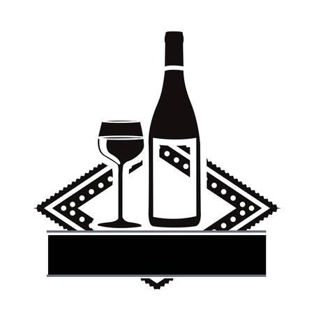 wine glass and bottle emblem icon image vector illustration design