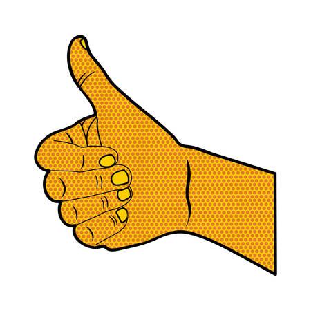 using senses: pop art thumb up hand gesture icon image vector illustration design
