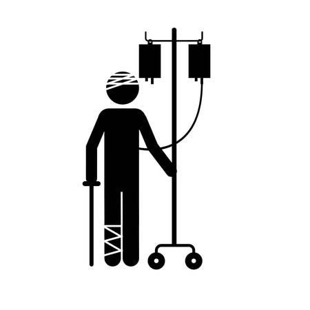 med: injured person icon image vector illustration design Illustration