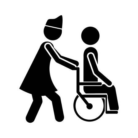 paraplegico: persona en silla de ruedas imagen de icono de diseño ilustración vectorial